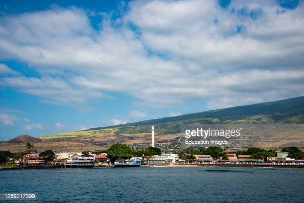 Lahaina, Maui, Hawaii, A beautiful sunny view of Lahaina with blue sky and clouds from the pacific ocean.