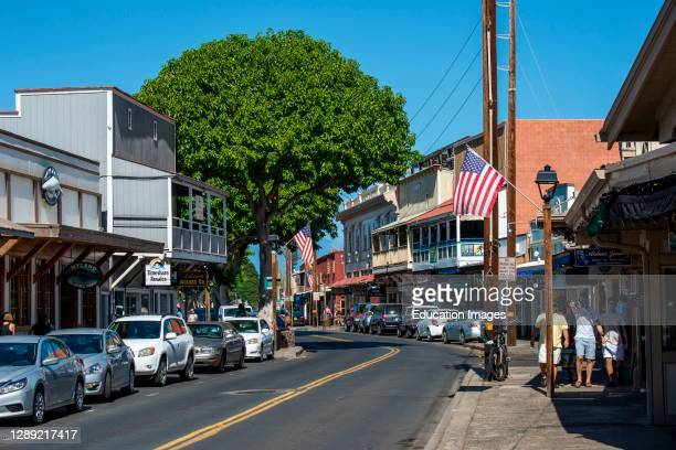 Lahaina, Maui, Hawaii, People walking and enjoying the shops on Front street on a beautiful day. In downtown Lahaina.