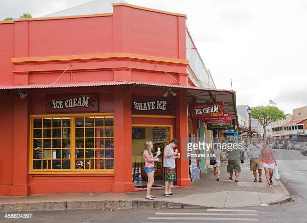 lahaina, maui, ice cream store - ice cream parlor stock photos and pictures