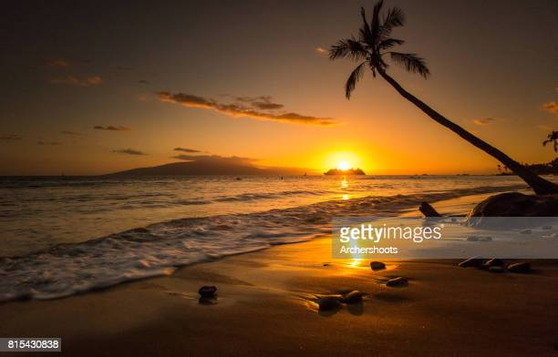 lahaina sunset - lahaina stock pictures, royalty-free photos & images