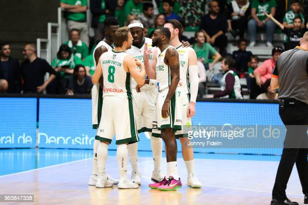 Lahaou Konate Johan Passave Ducteil Hugo Invernizzi Jamal Shuler and Heiko Schaffartzik of Nanterre during the Jeep Elite match between Nanterre and...