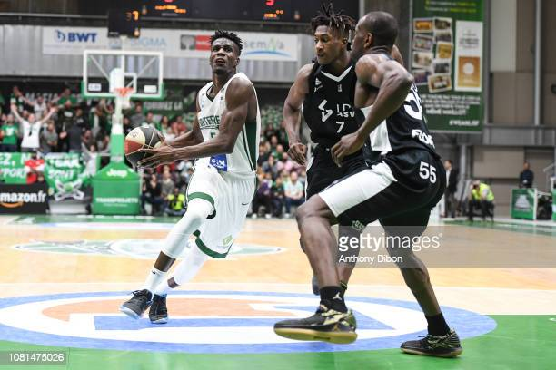 Lahaou Konate of Nanterre and Alpha Kaba of Asvel during the Jeep Elite match between Nanterre and Lyon Villeurbanne on January 12 2019 in Nanterre...