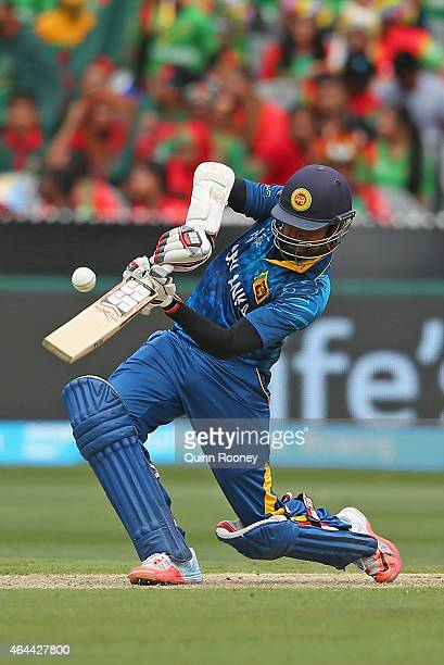 Lahiru Thirimanne of Sri Lanka bats during the 2015 ICC Cricket World Cup match between Sri Lanka and Bangladesh at Melbourne Cricket Ground on...