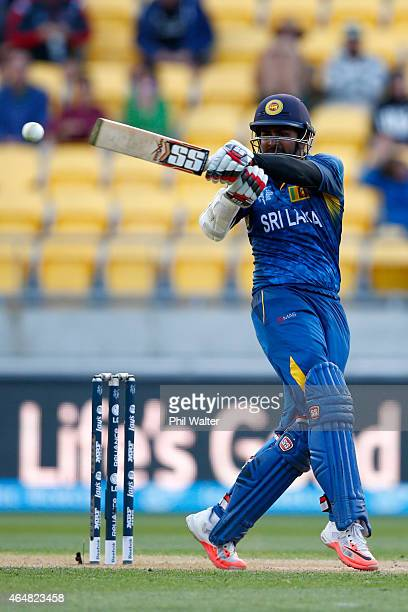 Lahiru Thirimanne of Sri Lanka bats during the 2015 ICC Cricket World Cup match between England and Sri Lanka at Wellington Regional Stadium on March...