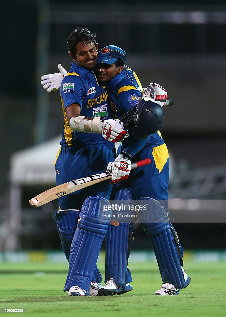 Lahiru Thirimanne of Sri Lanka celebrates with Kushal Janith Perera after scoring the winning runs and his century during game two of the Commonwealth Bank One Day International series between Australia and Sri Lanka at Adelaide Oval on January 13, 2013 in Adelaide, Australia.
