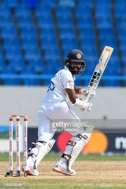 Lahiru Thirimanne of Sri Lanka hits 4 during day 2 of the 2nd Test between West Indies and Sri Lanka at Vivian Richards Cricket Stadium in North...
