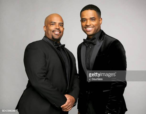 Lahmard Tate and Larenz Tate pose for a portrait during the 2018 American Black Film Festival Honors Awards at The Beverly Hilton Hotel on February...