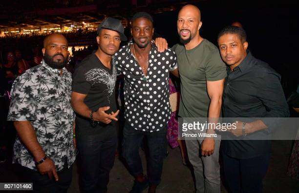 Lahmard Tate Larenz Tate Lance Gross Common and Larron Tate attend the 2017 ESSENCE Festival Presented by Coca Cola at the MercedesBenz Superdome on...