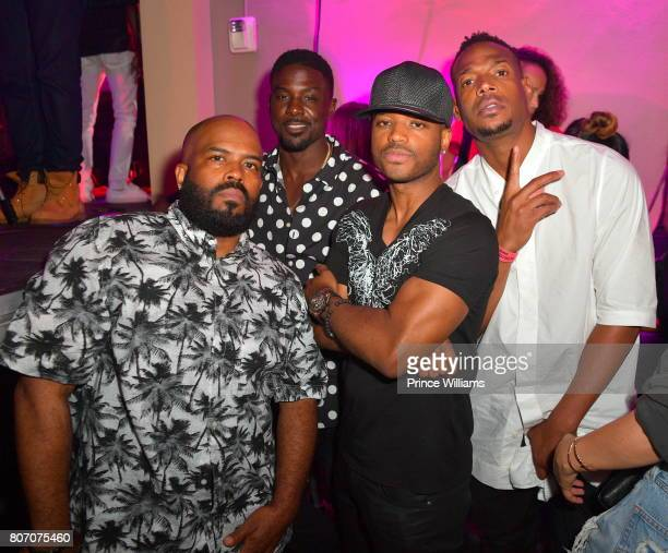 Lahmard Tate Marlon Wayans Larenz Tate and Lance Gross attend The Art of Luxury Black and White Blowout Party at Metropolitan Nightclub on July 2...