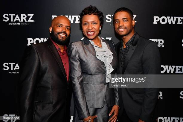 Lahmard Tate Rep Yvette Clarke and Larenz Tate attend the STARZ Original series Power Season Four Premiere at The Newseum on June 8 2017 in...