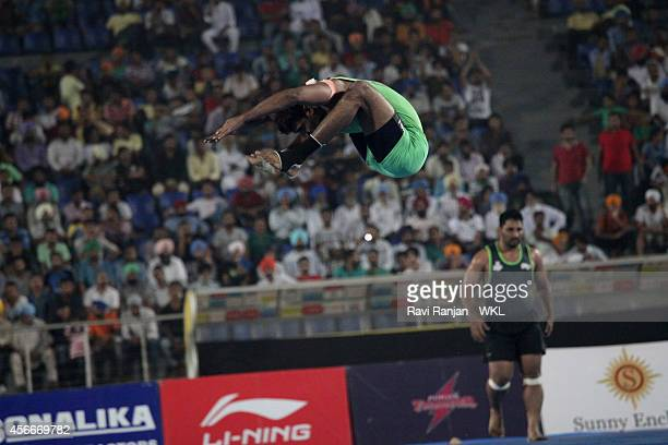 Lahore Lions compete against Royal Kings USA during the 2014 World Kabaddi league tournament at International Hockey Stadium on 4th October 2014 in...