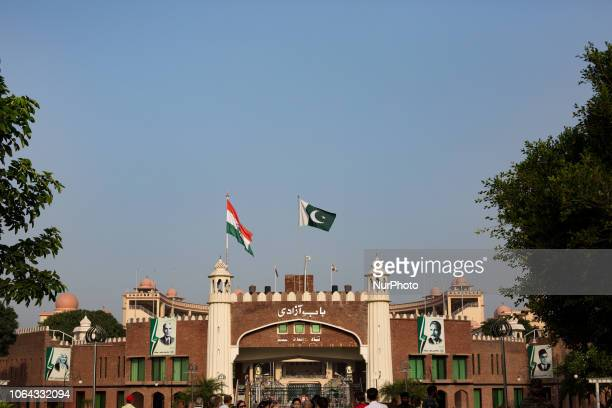 Lahore Pakistan 2 October 2018 A view of the hemicycle on the Pakistani side at the Wagah border closure ceremony Every evening the border closure...
