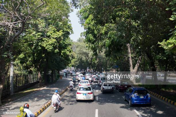 Lahore Pakistan 2 October 2018 View of the dense traffic that characterizes this city