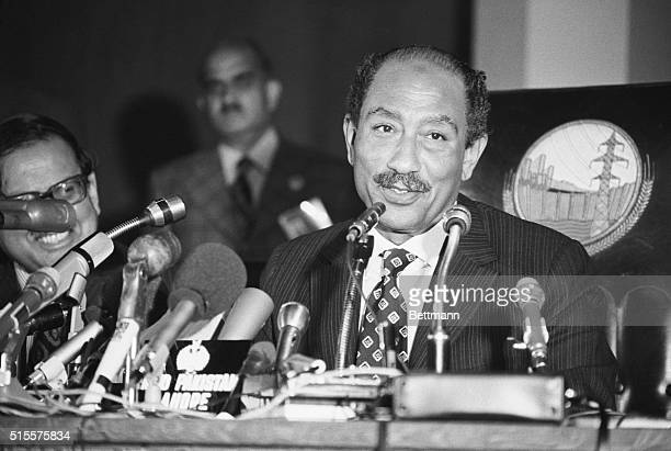 Egypt's Pres Anwar ElSadat holds a press conference in Lahore Feb 24 He attended an Arab summit conference there Because of the Egyptian Army's...