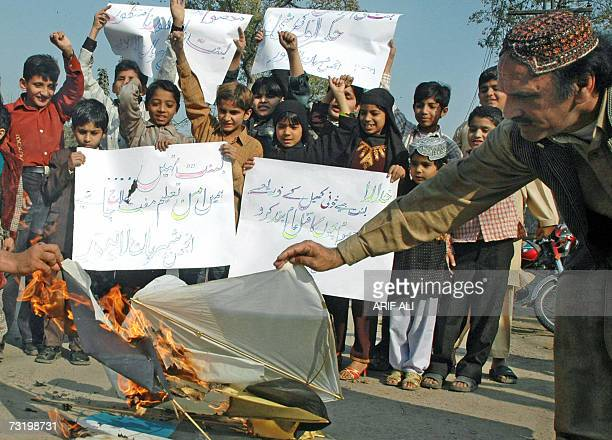 Pakistani childern join a demonstration against the annual basant festival in Lahore 04 February 2007 Pakistani authorities have lifted the ban on...