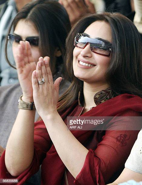 Popular Pakistani actress Reema claps as she watches the third One Day International match between Pakistan and India at The Gaddafi Cricket Stadium...