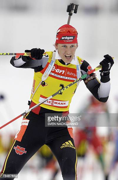 Lahti , FINLAND: Kati Wilhelm of Germany skis as she increases her overall WC lead after a second place behind teammate Martina Glagow and ahead of...