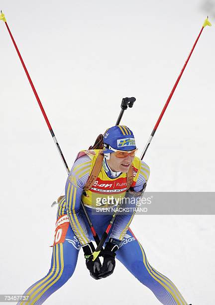 Overall World Cup leader Swede Anna Carin Olofsson takes a break after her fourth place in the IBU Women's 15 km Biathlon in Lahti Finland 28...