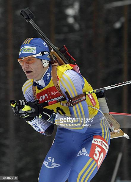 Overall World Cup leader Swede Anna Carin Olofsson skis to a fourth place in the IBU Womens 15 km Biathlon in Lahti Finland 28 February 2007 In first...