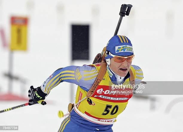 Overall World Cup leader Swede Anna Carin Olofsson skis to a fourth place in the IBU Women's 15 km Biathlon in Lahti Finland 28 February 2007 In...