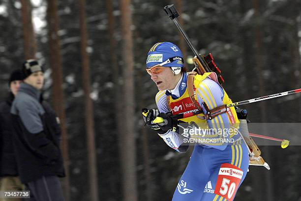 Overall World Cup leader Sweden's Anna Carin Olofsson competes to place fourth place in the IBU Women's 15 km Biathlon in Lahti Finland 28 February...