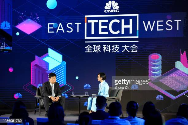 Lai, CEO of BNP Paribas China, speaks with Evelyn Cheng, Correspondent of CNBC, during Day 1 of CNBC East Tech West at LN Garden Hotel Nansha...