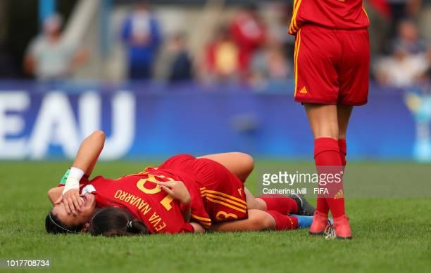 Laia Aleixandri of Spain and Eva Navvarro of Spain celebrate after the FIFA U20 Women's World Cup France 2018 Quarter Final quarter final match...