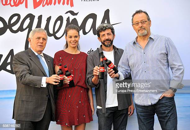 Laia Costa director Alberto Rodriquez and Jean Reno pose during a photocall for the short film 'Las Pequenas Cosas' by Estrella Damm on June 7 2016...