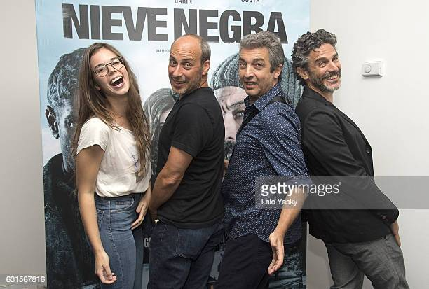 Laia Costa Martin Hodara Ricardo Darin and Leonardo Sbaraglia attend a press conference for 'Nieve Negra' at the Dazzler San Martin Hotel on January...