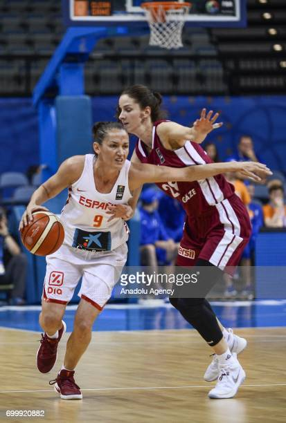 Laia Palau of Spain in action against Kristine Vitola of Latvia during the 2017 FIBA EuroBasket Women quarterfinals match between Spain and Latvia at...