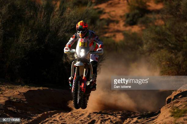 Laia Sanz of Spain and KTM rides a 450 Rally Replica KTM bike in the Elite ASOduring stage thirteen of the 2018 Dakar Rally between San Juan and...