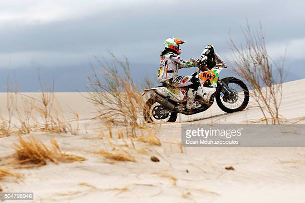 Laia Sanz of Spain riding on and for KTM 450 RALLY REPLICA KTM RACING TEAM competes on day 11 stage ten between Belen and La Rioja during the 2016...