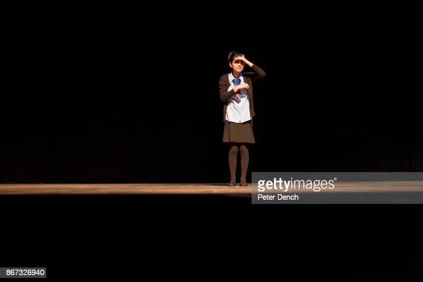 Laiba Abbasi on stage at The Beck Theatre during a rehearsal of the Shakespeare play Comedy of Errors in which she was playing Adriana The play was...