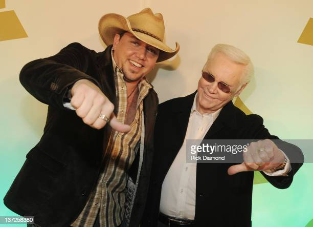 Laid back swervin' like I'm George Jones / Grammy Nominees Jason Aldean and George Jones attend The Nashville GRAMMY Nominee Party at the Loews...