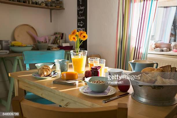 Laid breakfast table