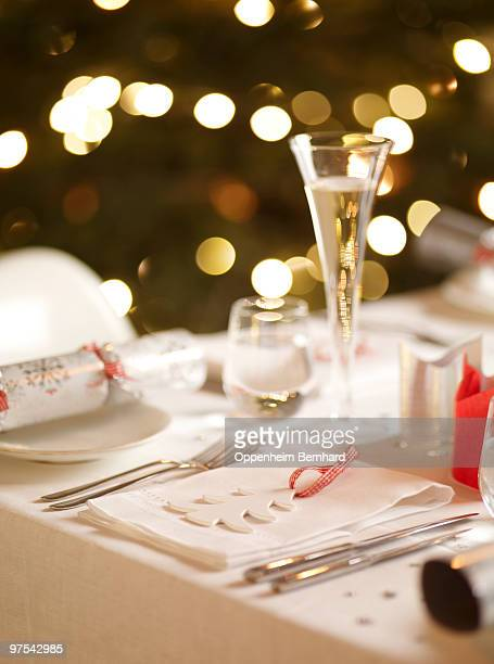 laid christmas table with tree in background