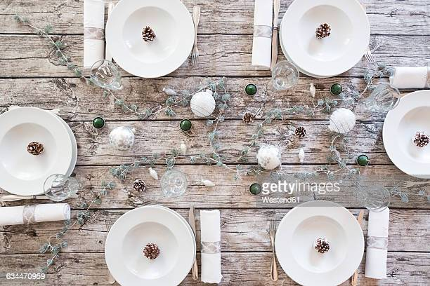 Laid table at Christmas time