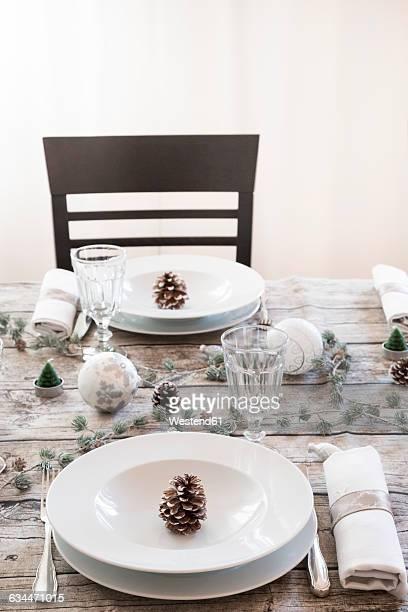 Laid table at Christmas time