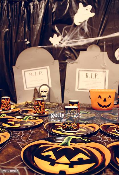 Laid table for a Halloween party