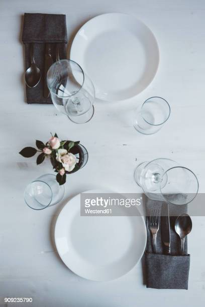 Laid table for two