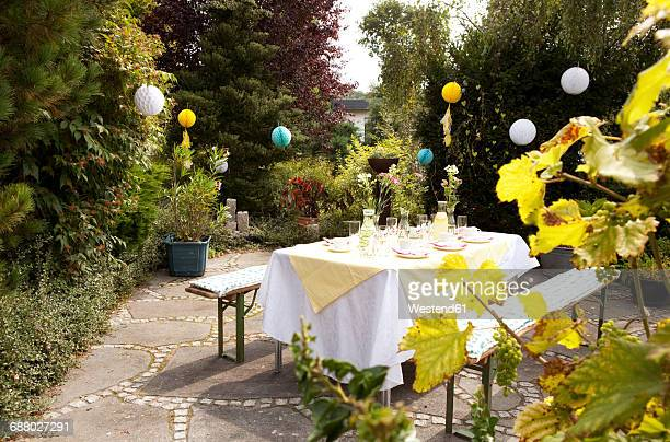 laid table in garden, decorated for a birthday party - backyard party stock pictures, royalty-free photos & images