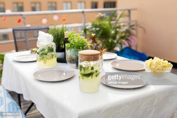 Laid table in restaurant