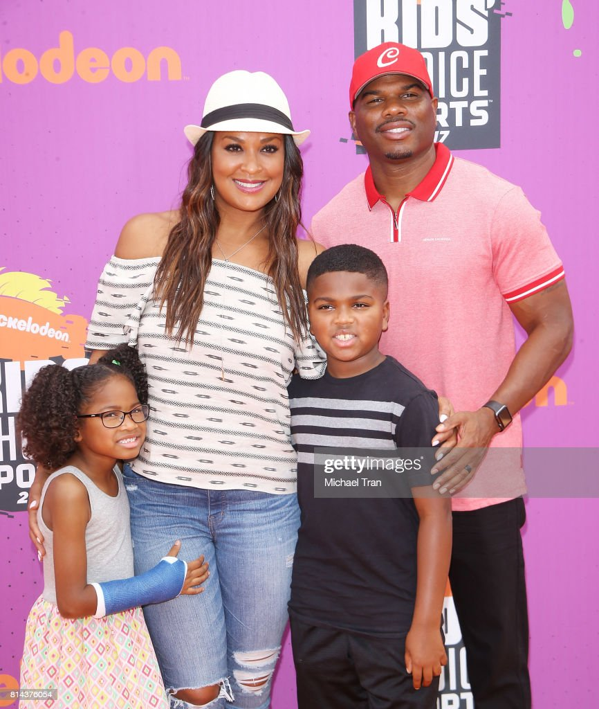 Laila Ali and family arrive at Nickelodeon Kids' Choice Sports Awards 2017 held at Pauley Pavilion on July 13, 2017 in Los Angeles, California.