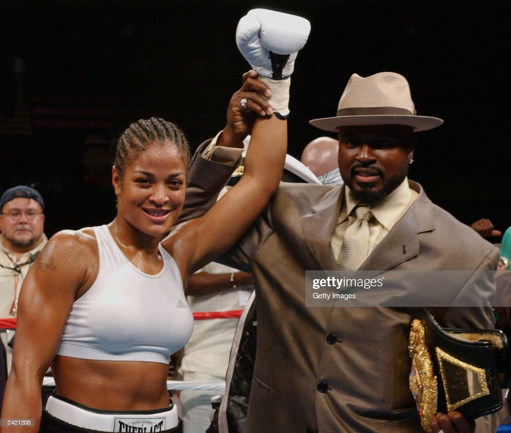 Laila Ali and her husband Yahya celebrate after the fight on August 23, 2003 at Mississippi Coast Coliseum in Biloxi, Mississippi. Laila defeated Christy Martin in the fourth round.