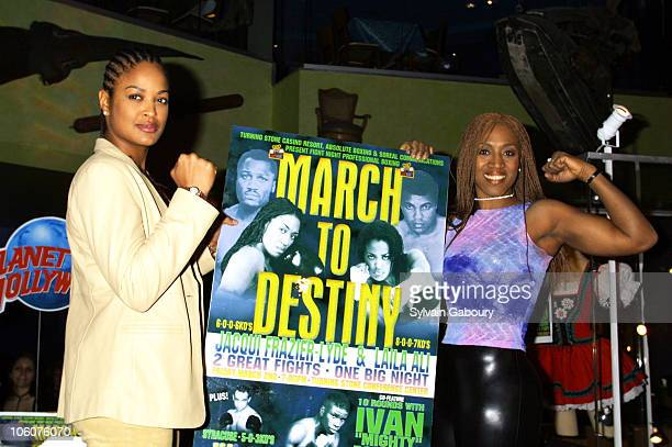 Laila Ali and Jacqui Frazier during Laila Ali and Jacqui Frazier promote new boxing movies at Planet Hollywood Times Square in New York NY United...