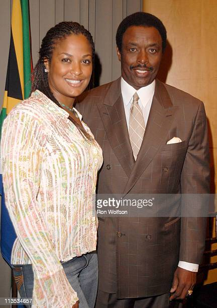 Laila Ali and Jim Hill during Laila Ali Press Conference June 23 2006 at Museum of Television and Radio in Beverly Hills California United States
