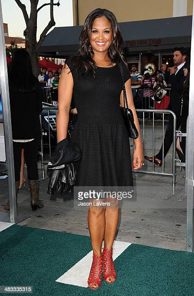 Laila Ali attends the premiere of 'Draft Day' at Regency Bruin Theatre on April 7 2014 in Los Angeles California