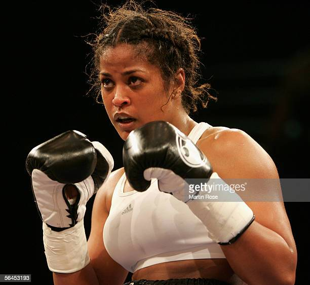 Laila Ali of the USA during the Super Middleweight fight between Laila Ali v Asa Maria Sandell at the MaxSchmeling Hall on December 17 2005 in Berlin...