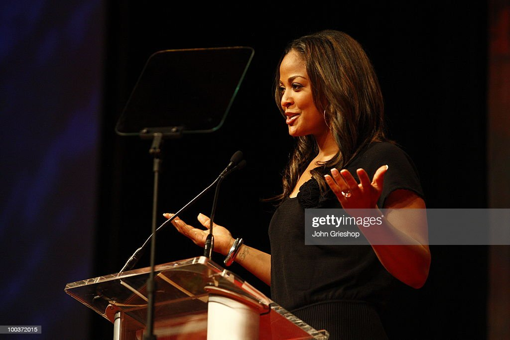 Laila Ali speaks during the MLB Beacon Awards Luncheon on Saturday, May 15, 2010, at the Duke Energy Center in Cincinnati, Ohio.