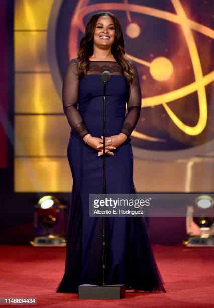 Laila Ali speaks onstage during the 46th annual Daytime Creative Arts Emmy Awards at Pasadena Civic Center on May 03 2019 in Pasadena California